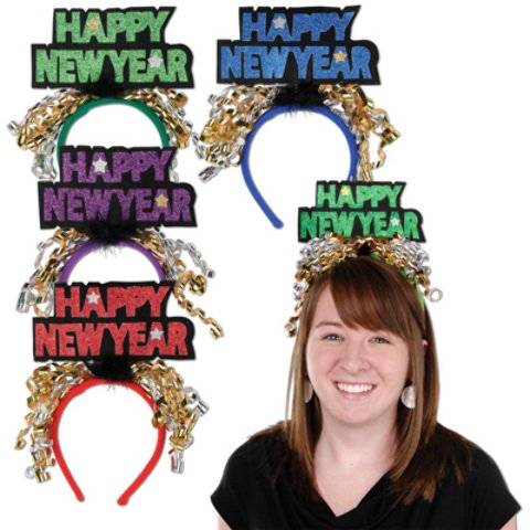 [dolly2u Glittered Happy New Year Headbands Case Pack 12] (Happy New Year Boppers)