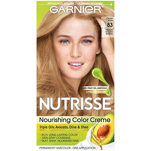 Garnier Nutrisse Nourishing Hair Color Creme, 83 Medium Golden Blonde (Cream Soda) (Packaging May (Cream Hair Color Dye)