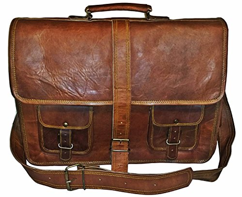 Leather Messenger Briefcase Crossover Shoulder