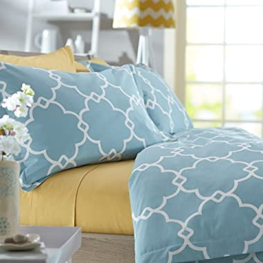 Pinzon 300-Thread-Count Lattice Duvet Cover Set - King, Spa Blue