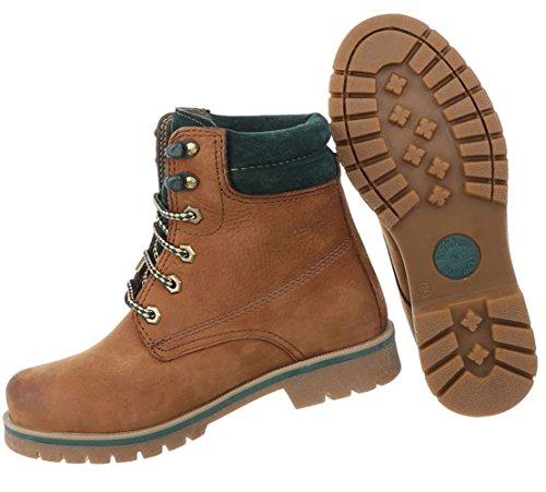 Damen Schuhe Stiefeletten Leder Schnür Boots Modell Nr.1 Hellbraun