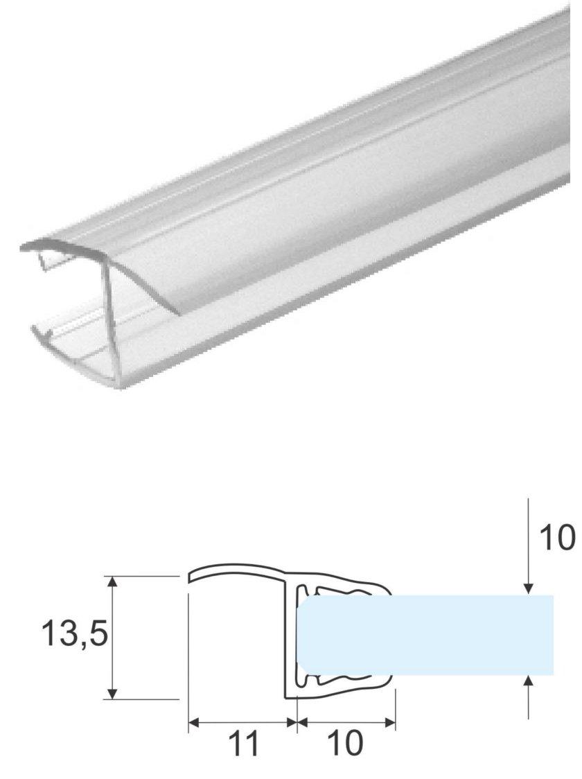 2, 99 mt - Guarnizione box doccia con aletta morbida per vetro 10mm Glass Com S.r.l.