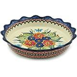 Polish Pottery Fluted Pie Dish 8-inch Spring Splendor UNIKAT