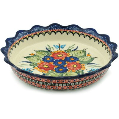 Polish Pottery Fluted Pie Dish 8-inch Spring Splendor UNIKAT by Polmedia Polish Pottery