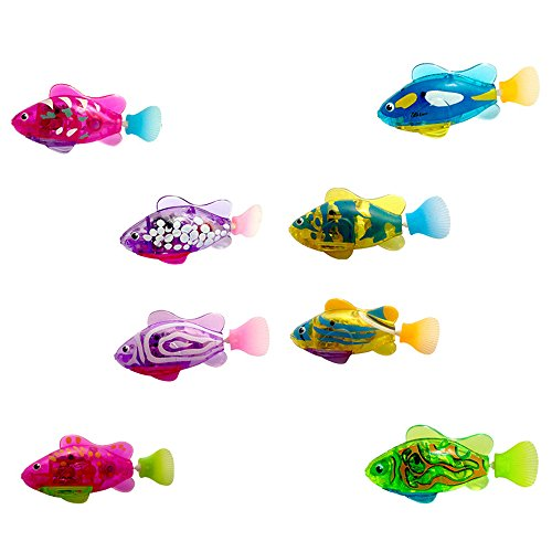 XYKTGH Swimming Robot Fish Activated in Water Electric Turbot Clownfish Battery Powered Robo Fish Toy Children Kids Robotic Gift (4 Pcs ()