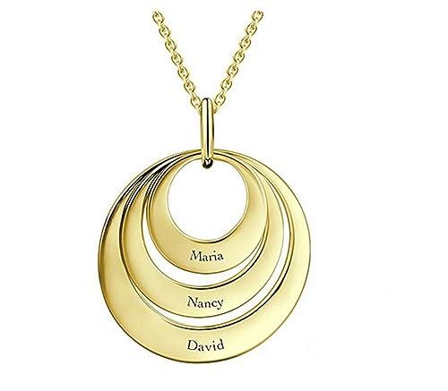 8f312cdc435d Bokning Madre Collar Personalizado Anillo Triple Collar por Encargo con 3  Nombres  Amazon.es  Joyería