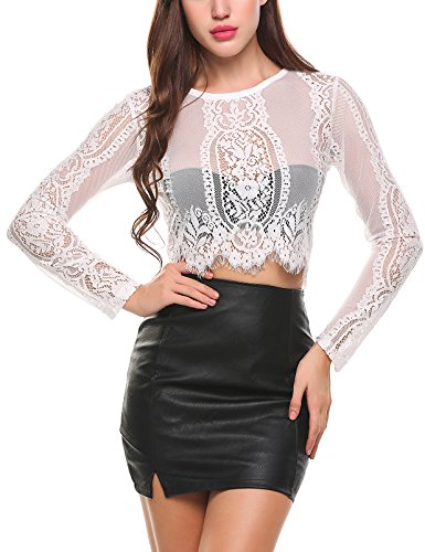 Mesh White Long Sleeve Top (COSBEAUTY Women's Long Sleeve Sexy Sheer Blouse Crocheted Mesh Lace Crop Top(White M))