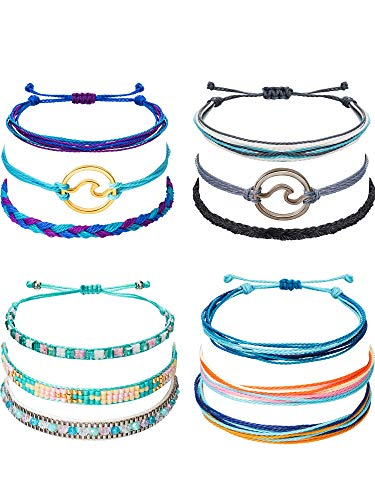 Chuangdi 12 Pieces Wave Strand Bracelet Set Handmade Adjustable Friendship Bracelet Handcrafted Jewelry Women (Style 2)