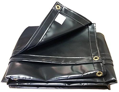 18 Oz Black Vinyl Polyester - 8x16 18oz Heavy Duty Vinyl Tarp with 2' Grommets
