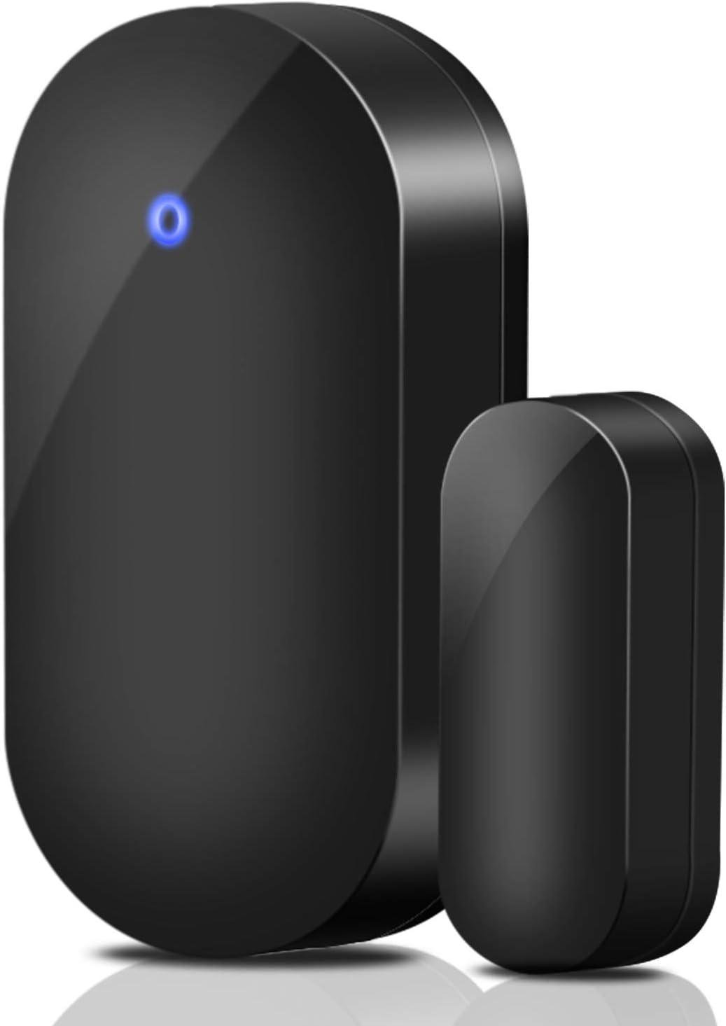 PHYSEN - Mini sensor de ventana de puerta magnético inalámbrico, sensor de alarma para timbre de entrada, alarma de puerta interior, color negro