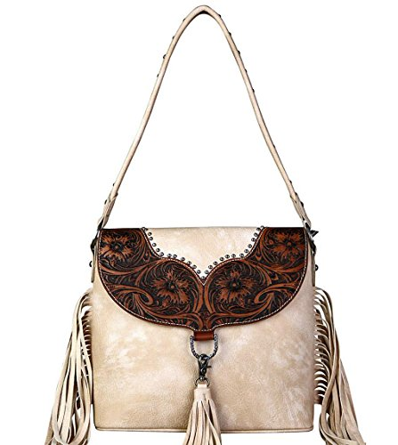 Ranch Trinity Leather Tan Striking Fringe Hobo Carry w Concealed amp; Tooling qaqHE7t
