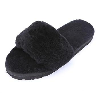 SHANGXIAN Sheepskin wool one flat slippers home slippers women 's winter wool plush home shoes 2 3 4 5 6 7 8 9 10 11 12 13 14 35 36 37 38 39 B0755K2ZLW