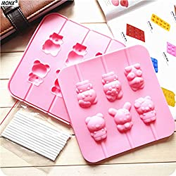 1 lot IRONX 2pcs/Set Silicone Handmade Chocolate Molds Cake Mold 6 Attices Hello Kitty Easily Bear Series Dessert Moulds LA2