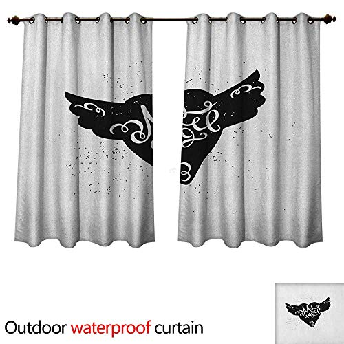 Anshesix Romantic Outdoor Balcony Privacy Curtain Cartoon Heart with Wings My Angel Stylized Lettering Black and White Dirty Look W72 x L63(183cm x 160cm)