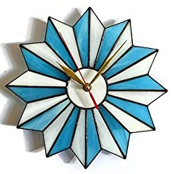 ZangerGlass Mid Century Modern Stained Glass Starburst Wall Clock Blue White in 2 sizes 10/14 Inch