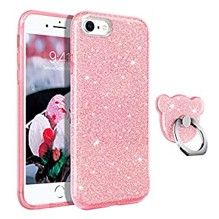 GUAGUA iPhone SE 2020 Case iPhone 8/7 Cases Glitter Sparkle Bling Shiny Cute Hybrid Cover for Girls Women with Extra Finger Ring Kickstand Shockproof Protective Case for iPhone SE 2020/8/7 Rose Gold