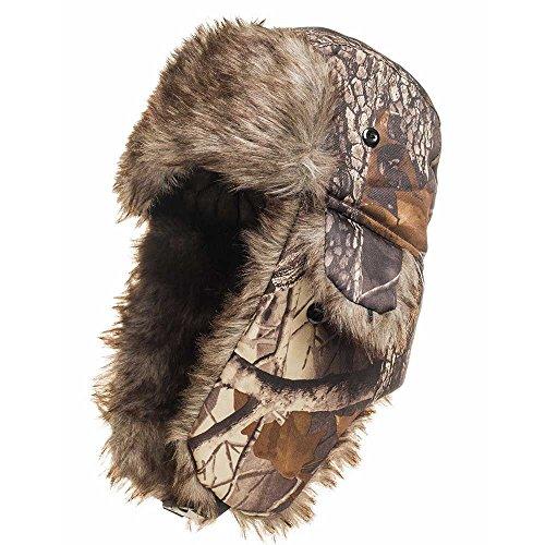 Winter Hat Warm Cap Camouflage Ushanka Ski Trapper Trooper Hunting Cold Weather Ear Flap Chin Strap (Khaki_Camouflage)