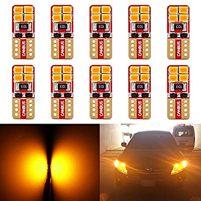 Phinlion Super Bright 2835 SMD LED Bulbs for Car Interior Dome Map Door Courtesy License Plate Lights Wedge T10 168 194 2825 Amber Yellow (10 Pack): Automotive