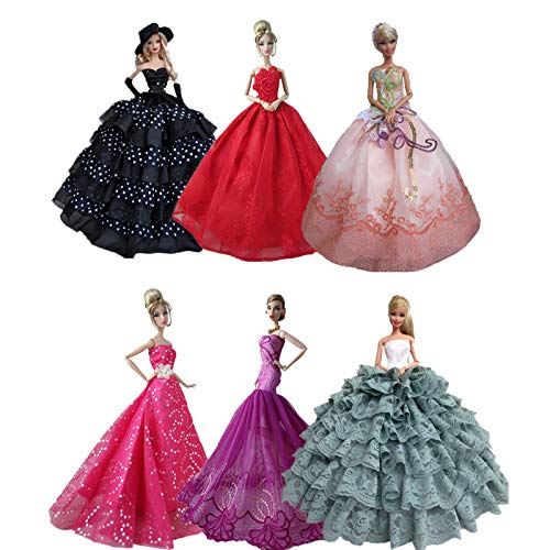 Doublewood Lot 15 Items 5 Pcs Handmade 1/6 Fashion Clothes 360°Sewing Wedding Party Gown with 10Pair Shoes Colorful Dress Replacement for Barbie Doll -