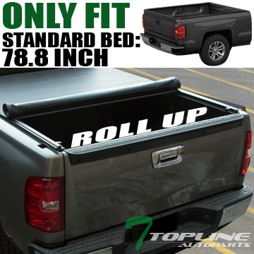 Topline Autopart Low Profile Roll Up Soft Vinyl Truck Bed Tonneau Cover For 14-18 Chevy Silverado ; GMC Sierra 1500 ; 15-18 2500 HD / 3500 HD/Denali 6.5 Feet (78