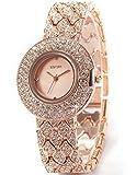 WEIQIN Crystal Lady Women Girl Rose Golden Bracelet Bangle Quartz Wrist Watch WQI007