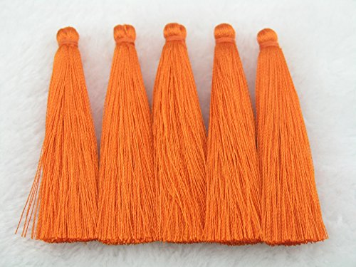 Tassel Orange (10pcs 6.5cm(2.6'') Sift Silky Handmade Fiber Tassels--22 Colors Available (Orange))