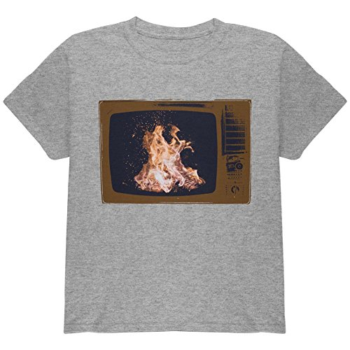 Price comparison product image Autumn Funny Faux Fireplace Television Youth T Shirt Heather YMD