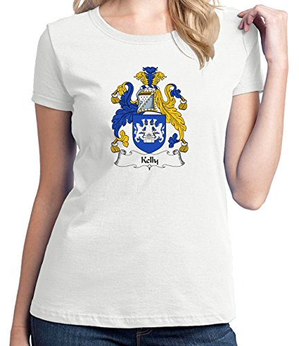 Irish Family Coat Of Arms (Ladies Kelly Coat of Arms T-shirt Small)