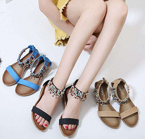 Ankle Women's Sandals Beauty Bohemian Wedge Summer D2C Blue FAxI5Sq7w