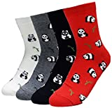 JJMax Women's Cute Black and White Panda Bear Endangered Species Socks (Lil Pandas)