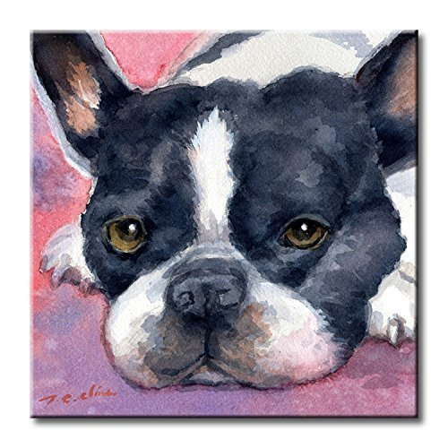 Boston Terrier Art Tile Print on Ceramic with Hook or with Feet Indoor Use - Gift for Dog Lovers Boston Tile Box