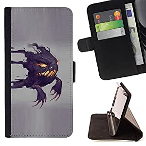 DEVIL CASE - FOR Apple Iphone 5 / 5S - Funny Scary Ghost - Style PU Leather Case Wallet Flip Stand Flap Closure Cover