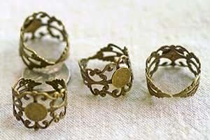 20PCS Antiqued Bronze Adjustable Filigree Ring Blanks 18mm