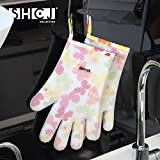 Heat Resistant Silicone Kitchen Mitts Oven Gloves for Cooking, Baking, Smoking & Potholder (Glove Style)