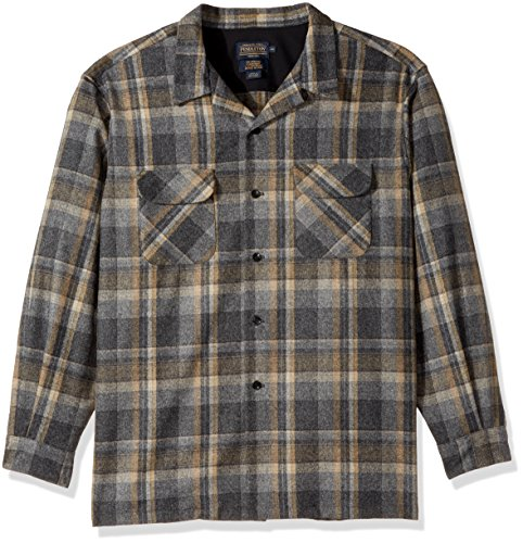 Classic Fit Plaid Shirt (Pendleton Men's Long Sleeve Classic-Fit Board Shirt, Grey/Gold Plaid-31946, XL)
