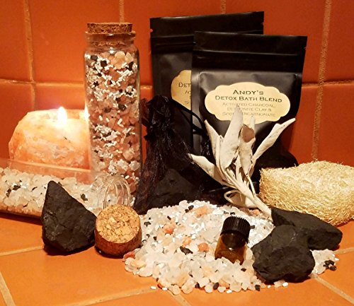 Himalayan Salt Spa Kit, Bentonite Clay and Charcoal Detox Blend Bath Gift Set, Mineral Foot Soak