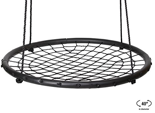 Sorbus Spinner Swing – Kids Indoor/Outdoor Round Web Swing – Great for Tree, Swing Set, Backyard, Playground, Playroom – Accessories Included (40'' Net Seat) by Sorbus (Image #5)