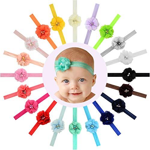 20pcs 2 Glitter Flowers Headbands Baby Girls Headbands Flowers Soft Hair Band Headwear Hair Accessory for Baby Girls Newborns Infants Toddler and Kids