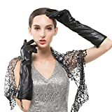 (US) Nappaglo Women's Long Leather Gloves Genuine Nappa Leather Touchscreen Winter Party Mittens with Metal Zipper (S (Palm Girth:6.9
