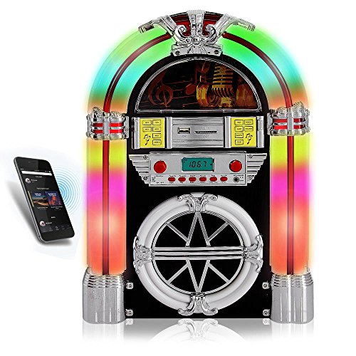 Pyle PJUB25BT Bluetooth Jukebox MP3 Speaker Player LED Lighting, AM/FM Radio, USB/SD Readers with Aux Input (Record Player Jukebox)