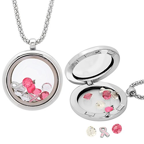 Ladies 18k White Gold Plated Alloy Locket Pendant - Pink & White Floating Crystals - Breat Cancer Awareness (Cancer Charm Gold Plated)