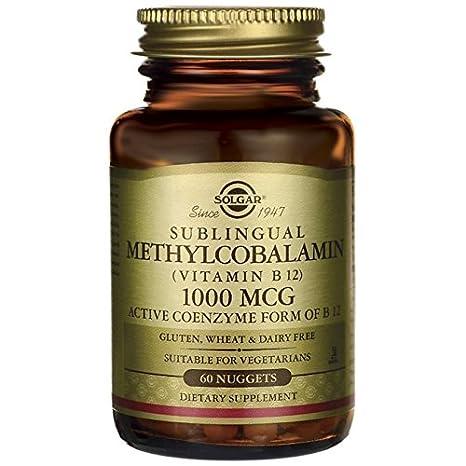 Pepitas de metilcobalamina sublingual (vitamina B12), 1000 mcg, 60 unidades, de la marca Solgar: Amazon.es: Salud y cuidado personal