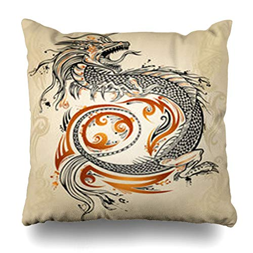 Alfredon Throw Pillow Covers Telling Japanese Dragon Doodle Sketch Tattoo Tribal Scale Wildlife Chinese Japan China Pattern Asian Pillowcase Square Size 18 x 18 Inches Home Decor Cushion Cases