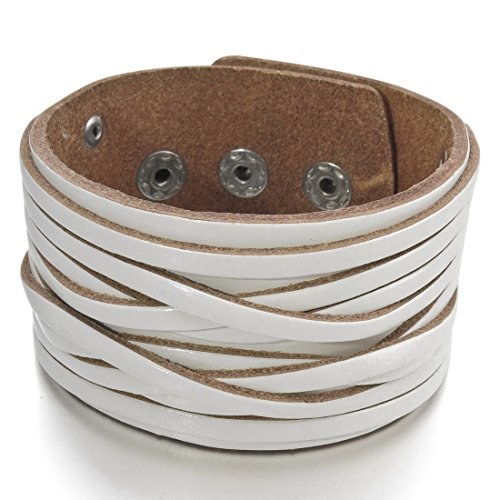 INBLUE Men's Alloy Genuine Leather Bracelet Bangle Cuff White Silver Tone Adjustable