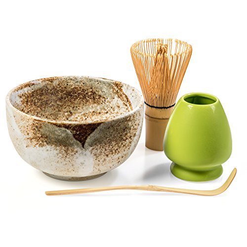 tart Up Kit - 4 items - Matcha Green Tea Gift Set - Japanese Made Beige Bowl - Bamboo Whisk and Scoop - Whisk Holder - Gift Box (Ceremonial Tea Bowl)