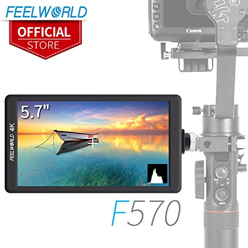 FEELWORLD F570 5.7 inch DSLR On Camera Field Monitor Small HD Focus Video Assist IPS Full HD 1920x1080 4K HDMI for Sony Canon Nikon Panasonic Zhiyun Crane DJI Ronin Feiyu Moza Gimbal Stabilizer Rig (Pro Parts Crane)