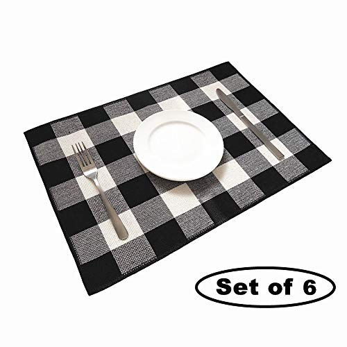 (Ukeler Placemats Set of 6 - Buffalo Check Plaid Placemats 100% Cotton Crossweave Plaid Woven Placemats Washable Heat Insulation Kitchen Table Mats, Black and White)