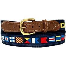 Nautical Code Flag Belt on Navy Webbing