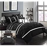 Chic Home 10 Piece Dorothy Pinch Pleated Ruffled and Reversible Geometric Design Printed Bed in a Bag Comforter Set, Queen, Black
