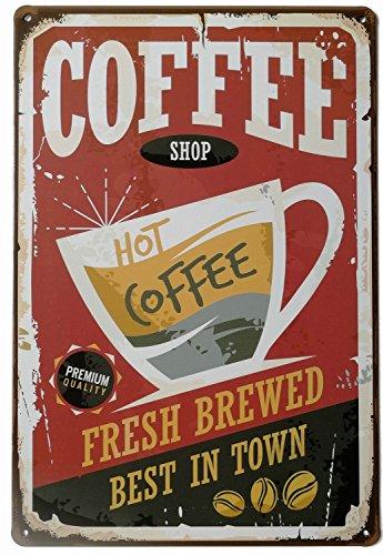 ERLOOD Coffee Shop Hot Coffee Vintage Metal Tin Sign Poster Home Plaque Poster Wall Art Pub Bar Decor 12 X 8